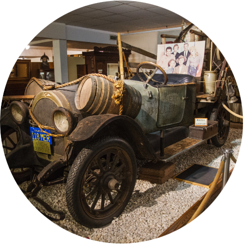 The original vehicle used in the television series The Beverly Hillbillies  presented in Ralph Foster Museum at C of O