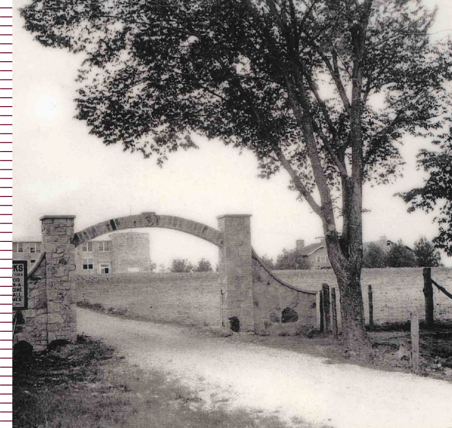 Historical photo of the old entrance to School of the Ozarks campus