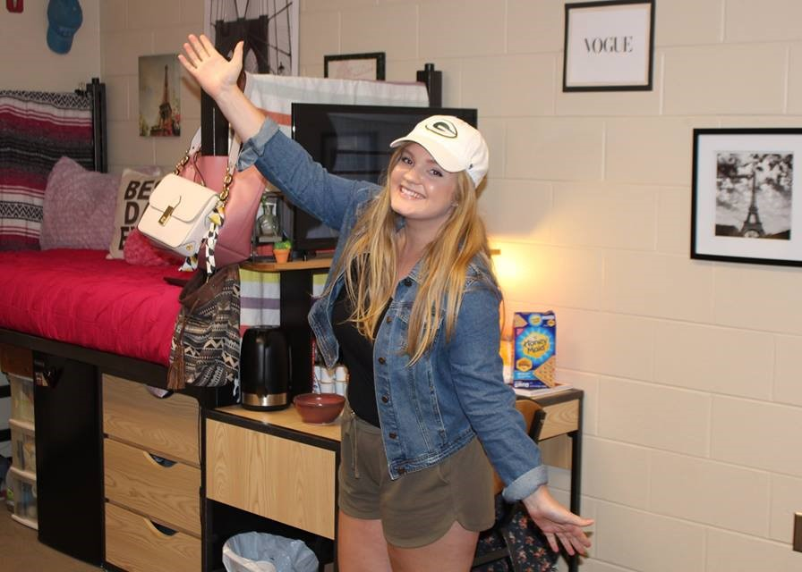 Student during Open House at Rosemann Dorm