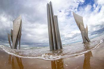 War memorial on Omaha Beach in Normandy.