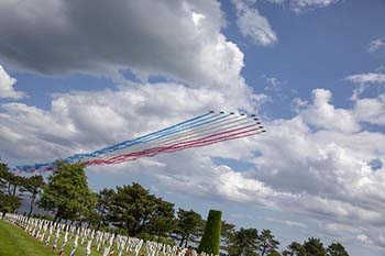 A flyover by French aircraft help make the commemorations ceremonies on the anniversary of D-Day.
