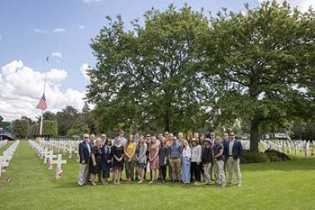 Group picture of College of the Ozarks students in the Normandy American Cemetery