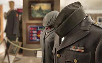 Military Uniforms on display in the Museum