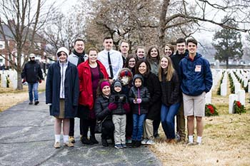 A group of College of the Ozarks and School of the Ozarks students at Springfield National Cemetery
