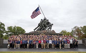 Students at Iwo Jima Memorial