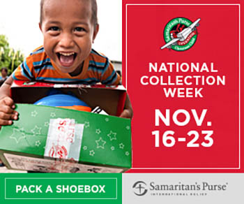 National collection date for Operation Christmas Child is Nov. 16 - Nov. 23